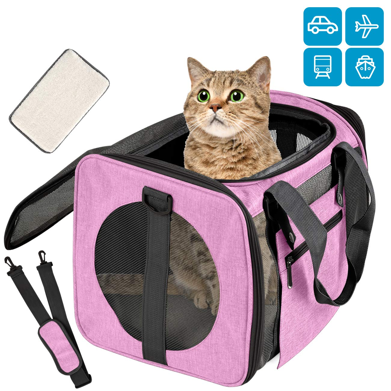 Moyeno Airline Approved Pet Carrier Cat Carriers Dog Carrier for Small Medium Cats Dogs Puppies Bunny Collapsible Puppy Carrier Soft Sided Small Dog Carrier Adjustable Strap Independent Pocket (Pink) by Moyeno