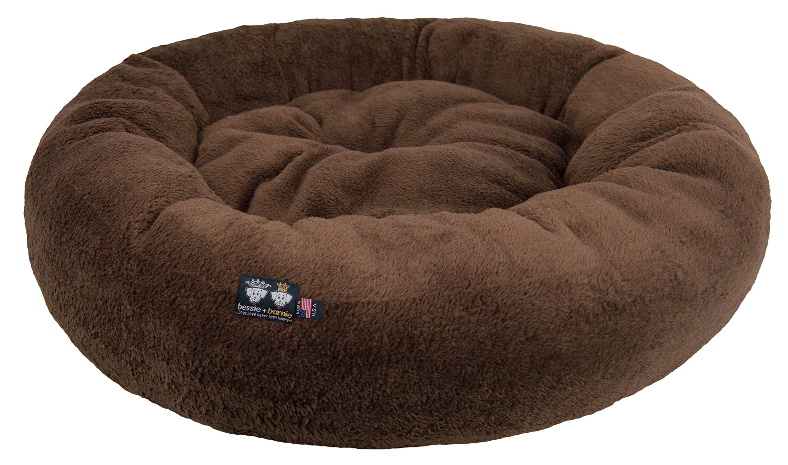 BESSIE AND BARNIE Ultra Plush Deluxe Comfort Pet Dog & Cat Brown Snuggle Bed (Multiple Sizes) - Machine Washable, Made in The USA, Reversible, Durable Soft Fabrics by BESSIE AND BARNIE
