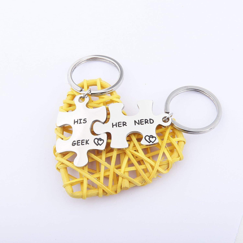 Amazon.com: lywjyb birdgot Puzzle llaveros para parejas His ...
