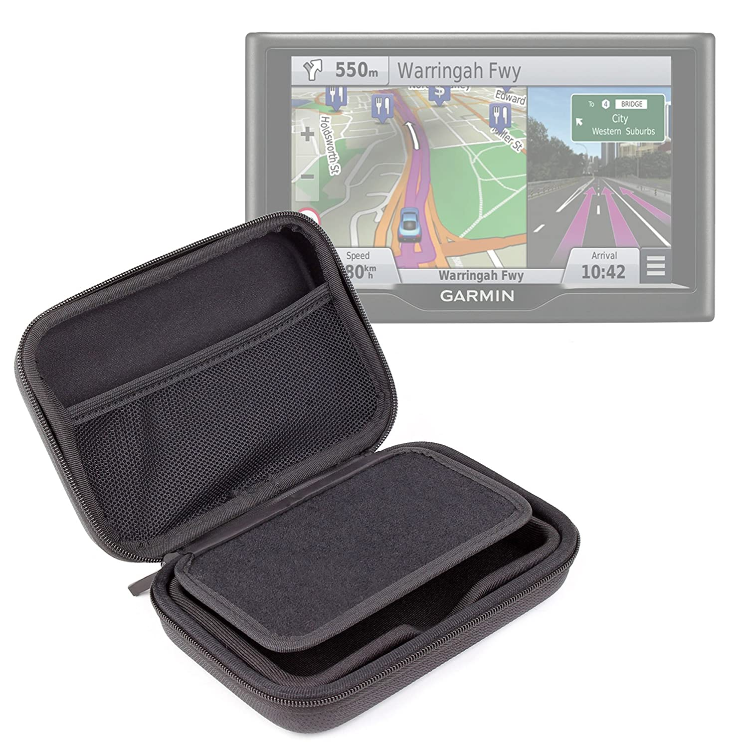 DURAGADGET Exclusive 5-inch Hard Shell EVA Case in Matte Black for The New Garmin Nuvi 57 LM /& 57LMT 58LMT 541