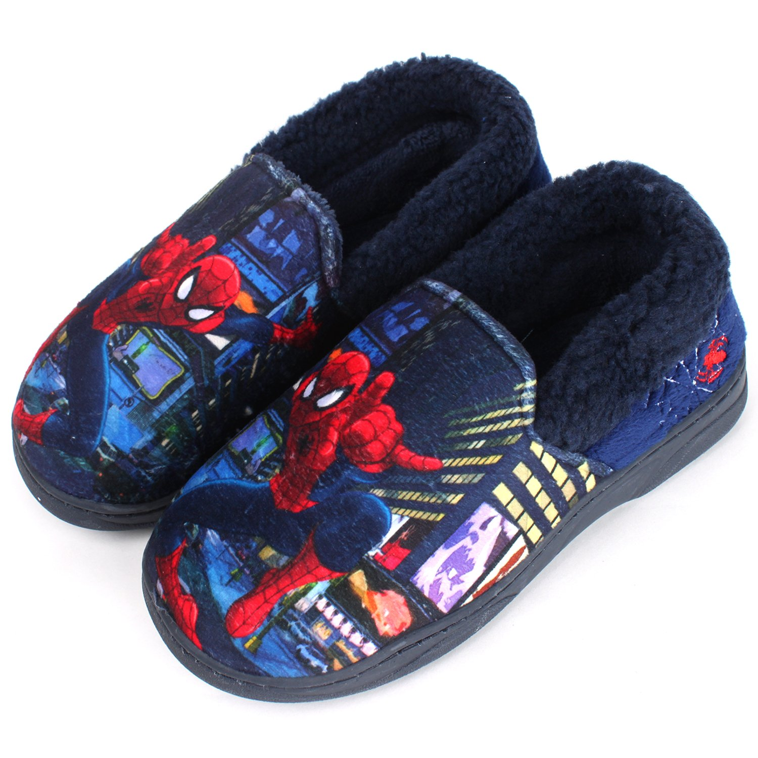 Joah Store Spider-Man Slippers for Boys Navy Red Warm Fur Clog Mule Indoor Shoes (3.5 M US Big Kid, Spider-Man) by Joah Store (Image #3)