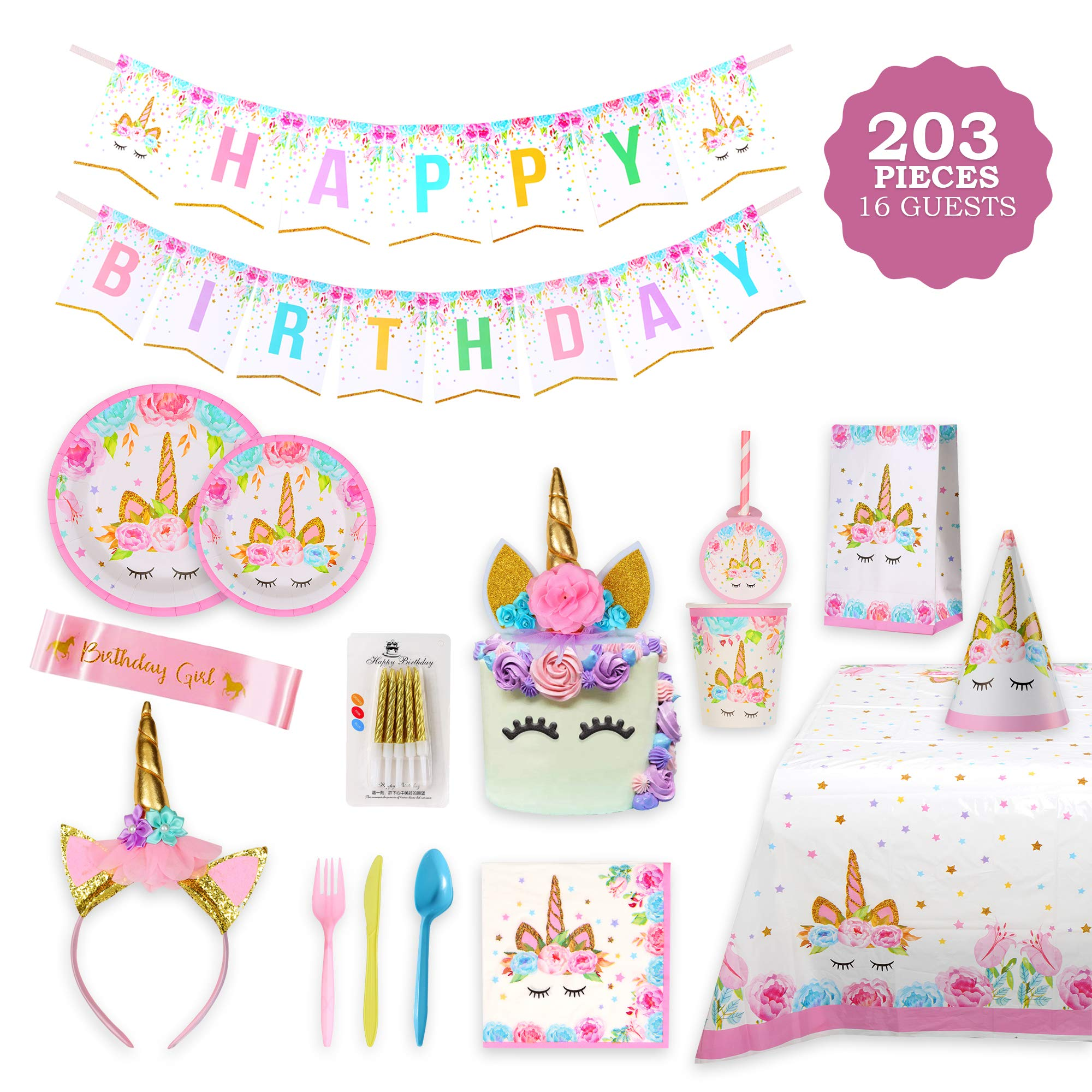 Unicorn Party Supplies Set & Tableware Kit,Serves 16 - Perfect for Girls Birthday Party Decorations- Includes Plates,Napkins,Cups,Starws,Utensils & 8 BONUS GIFTS by BLUERITE