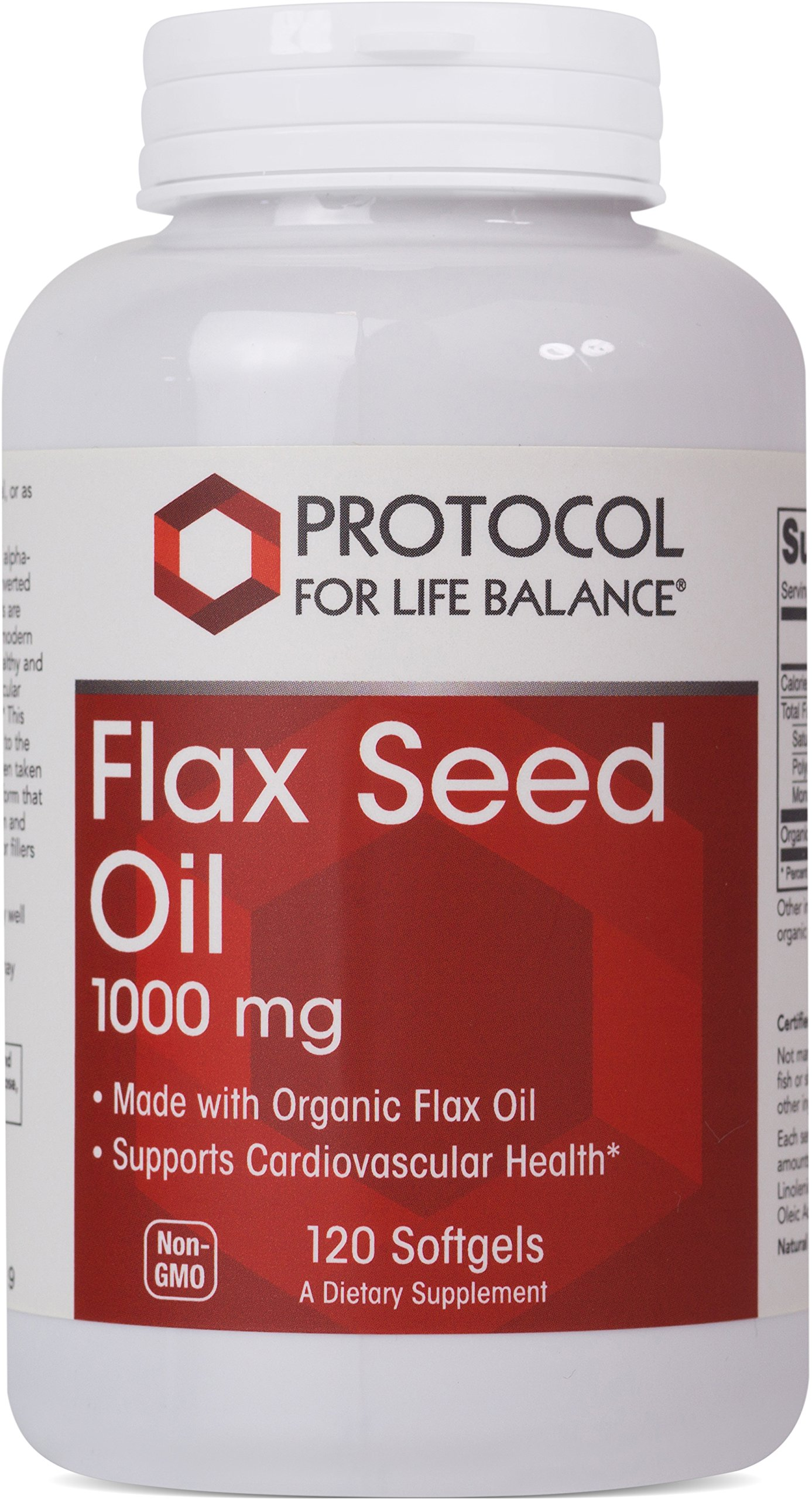 Protocol For Life Balance - Flax Seed Oil 1000 mg - Made with Organic Flax Oil to Support Cardiovascular Heart Health, Appetite Suppressant, Constipation Relief, & Improve Gut Health - 120 Softgels