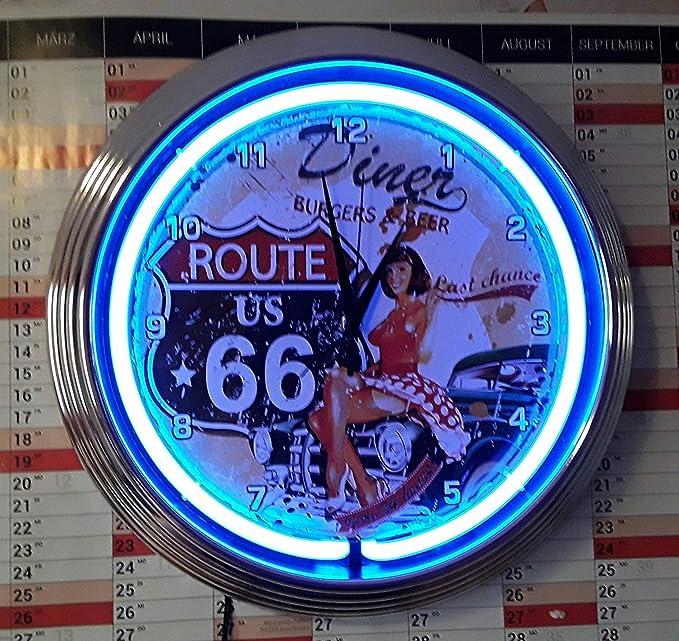 Neón reloj de pared estilo pinup ruta 66