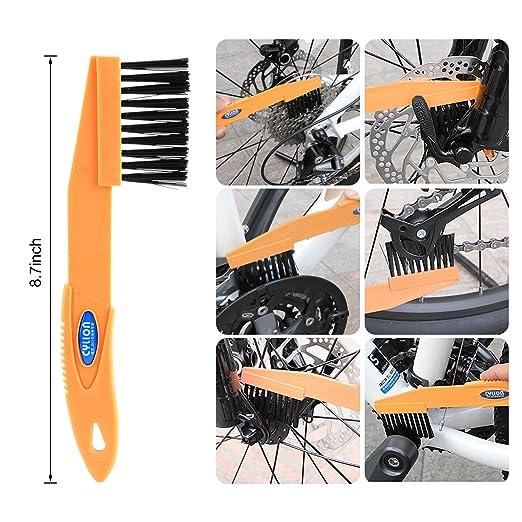 Tagvo 6pcs Juego de herramientas de limpieza de bicicletas, Juego de cepillos de bicicleta limpia para cadena de bicicleta / Neumático / Sprocket Ciclismo ...