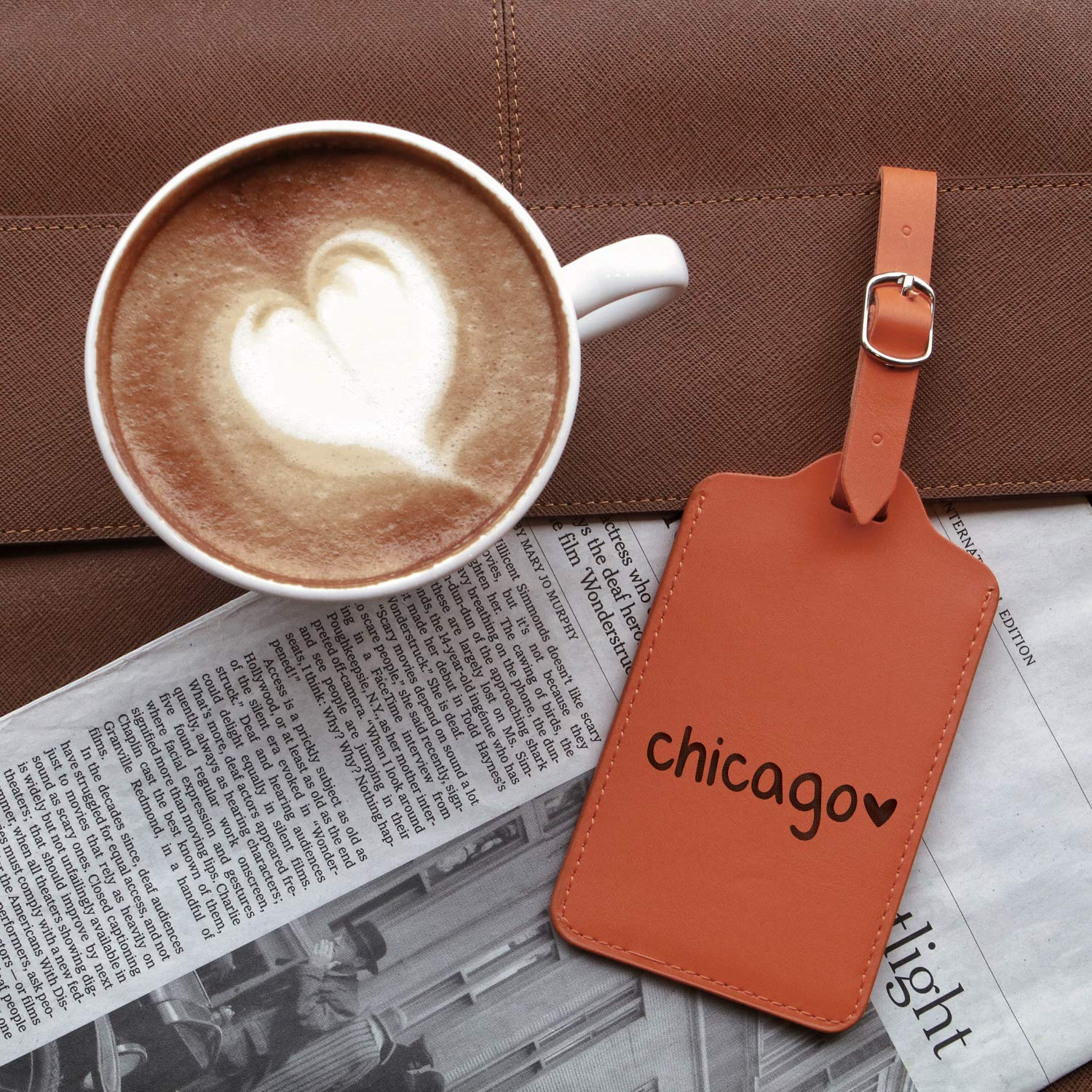 Chicago Love Icon Text Engraved Synthetic Pu Leather Luggage Tag For Any Type Of Luggage Handcrafted By Mastercraftsmen London Tan - Set Of 2 - United States Standard
