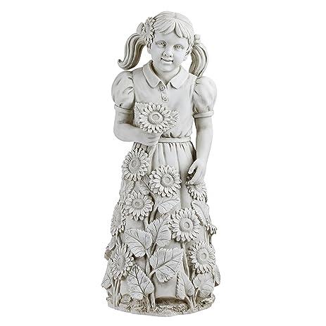 Exceptional Design Toscano Savannahu0027s Sunflowers Little Girl Garden Statue