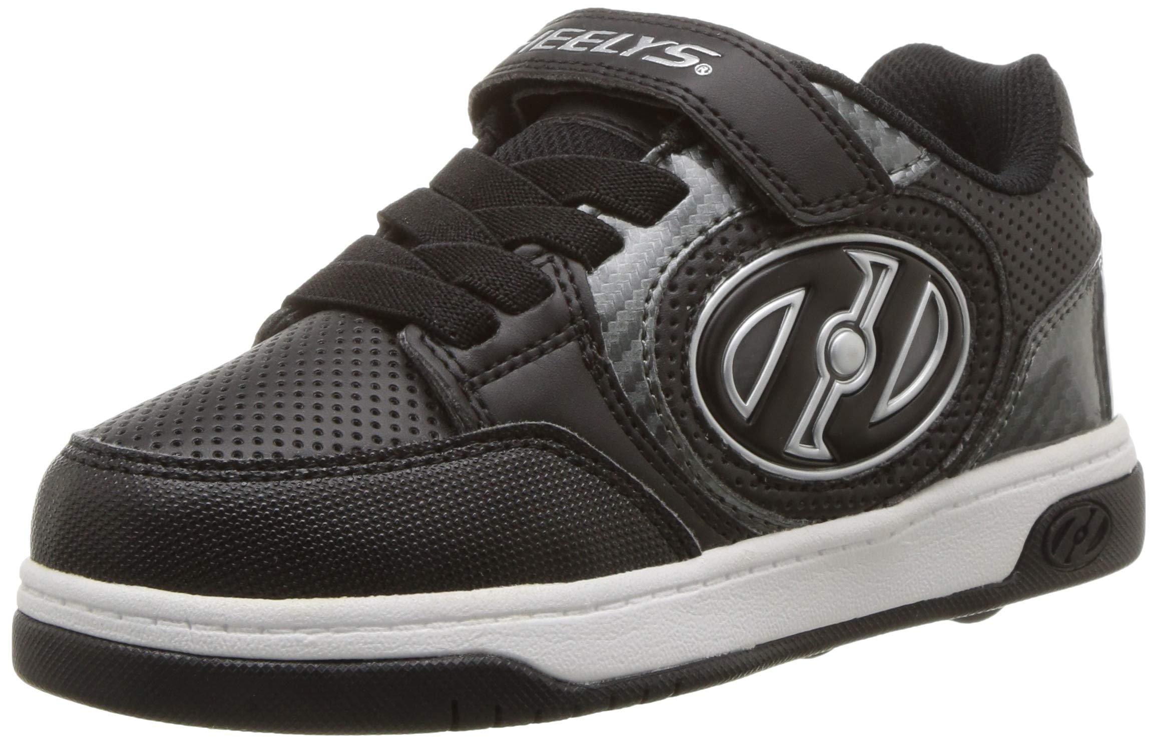 Heelys Kids' Plus X2 Lighted Tennis Shoe, Black/Carbon, 2 M US Little Kid