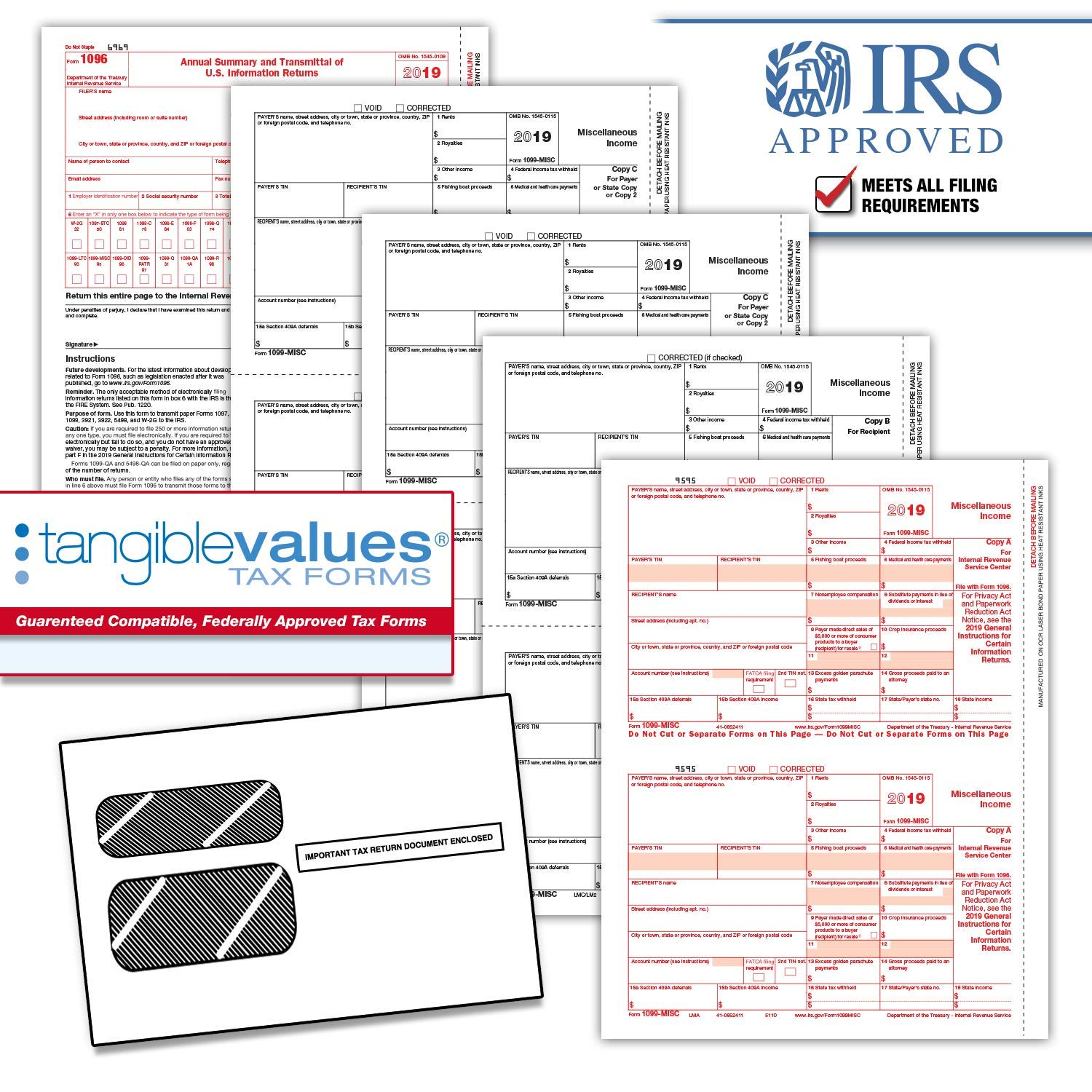 Tangible Values 1099 Misc Laser Forms (4-Part) Kit with Env for 50 Vendors + 3 Form 1096's (2019) by Tangible Values Business Solutions