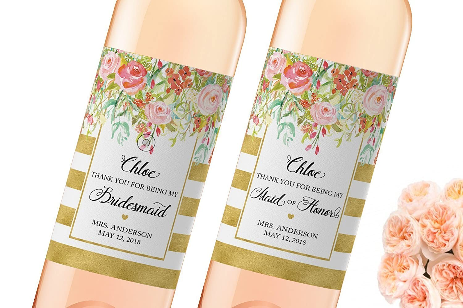 PERSONALISED BRIDESMAID WINE LABEL OR SPIRIT THANK YOU FOR BEING MY BRIDESMAID