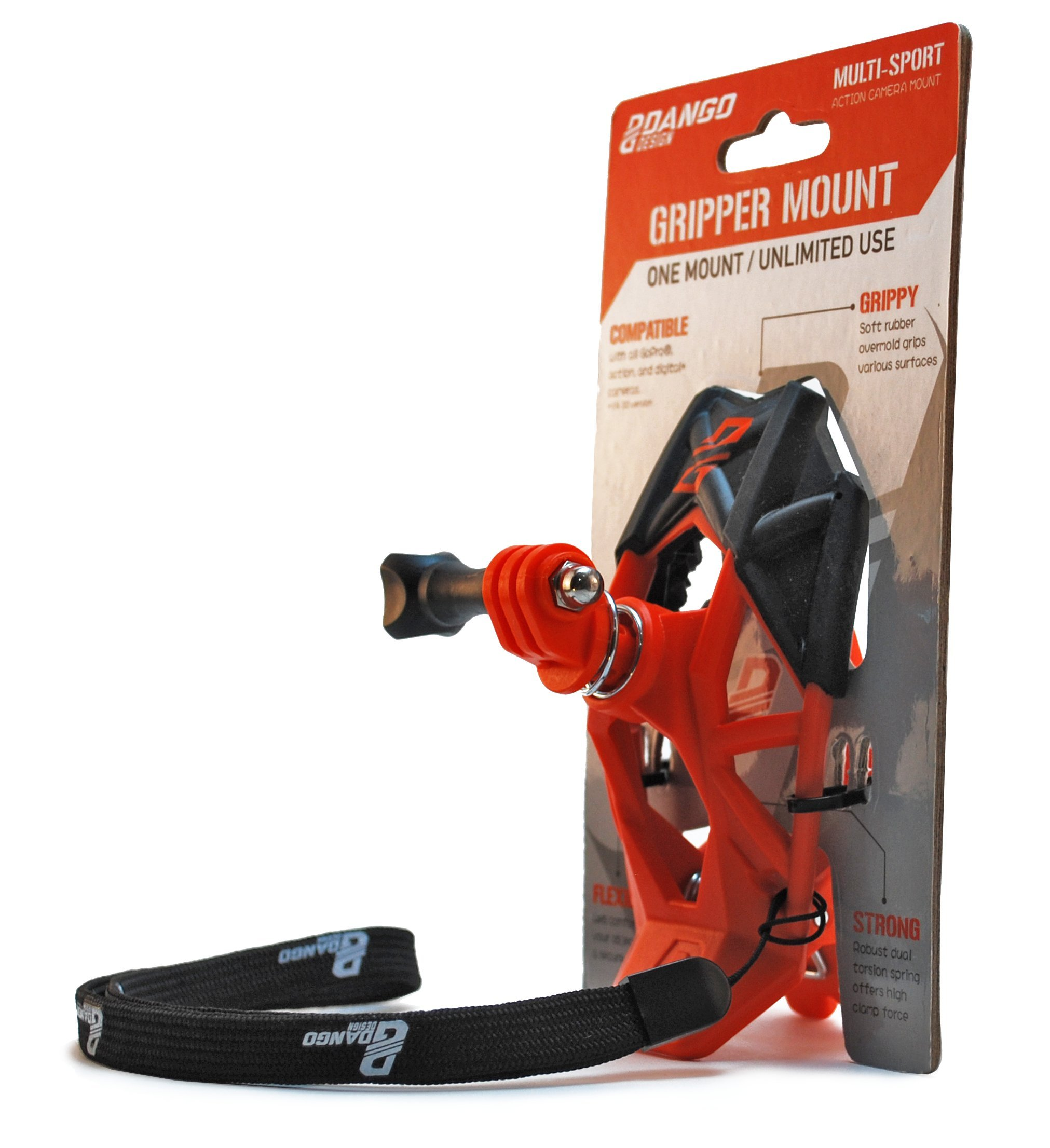 Dango Design Gripper Mount - Universal Clamp Mount for GoPro and Cameras - Orange with Adapter Pack by Dango Design
