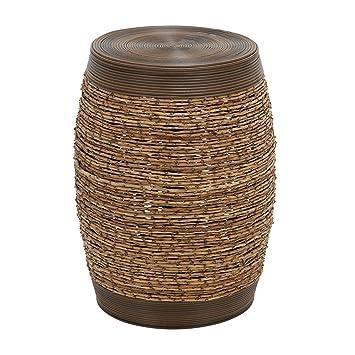 Marvelous Wooden Garden Stool In Barrel Shaped  Set Of 2   Rich Brown