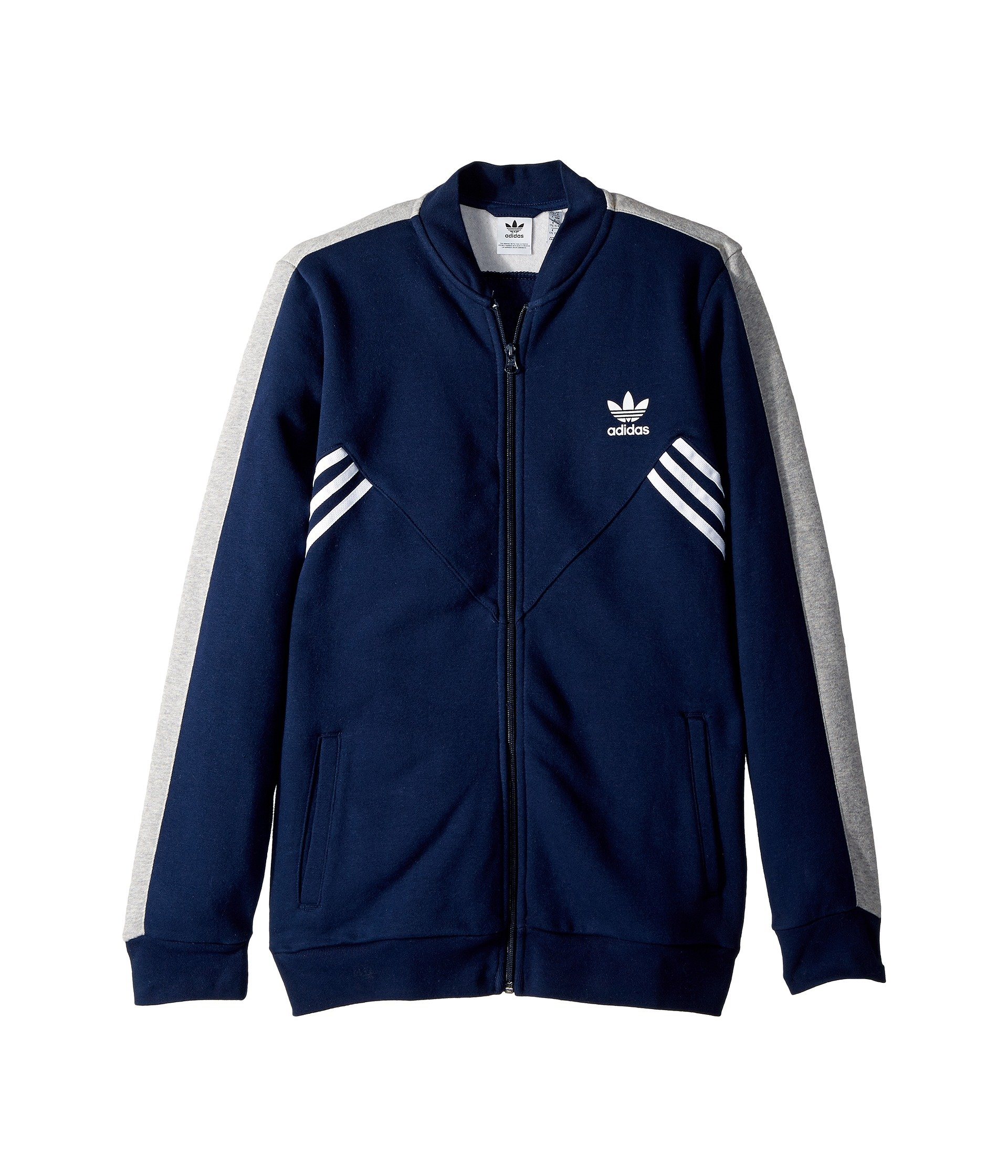 adidas Originals Kids Boy's Zigzag Track Jacket (Little Kids/Big Kids) Collegiate Navy/Medium Grey Heather/White Large