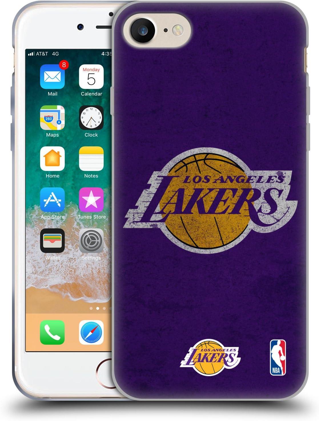 Head Case Designs Oficial NBA Aspecto Envejecido Los Angeles Lakers Carcasa de Gel de Silicona Compatible con Apple iPhone 7 / iPhone 8 / iPhone SE 2020