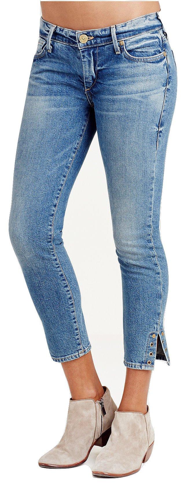 True Religion Women's Casey Super Skinny Rivet Crop Jeans In Gypset Blue (28, Gypset Blue)