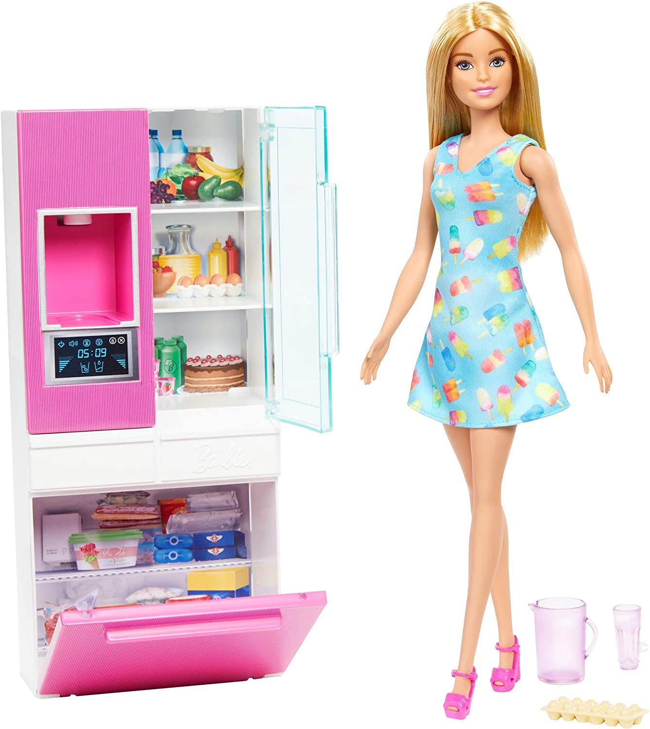 Amazon Com Barbie Doll 11 5 In Blonde And Furniture Set Refrigerator With Working Water Dispenser And Three Kitchen Accessories Gift For 3 To 7 Year Olds Toys Games
