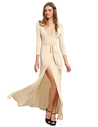 e0b961cdbbbac Romwe Women's Solid V-Neck 3/4 Sleeve Wrap Waist Split Long Maxi Dress