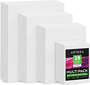 """Arteza Painting Canvas Panels Multi Pack, 5x7"""", 8x10"""", 9x12"""", 11x14"""", Set of 28, Primed White, 100% Cotton with Recycled Board Core, for Acrylic, Oil, Other Wet or Dry Art Media, for Artists"""