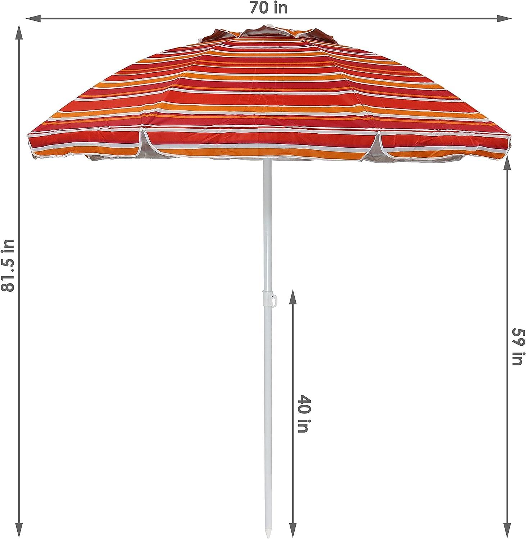 Sunnydaze 6-Foot Striped Vented Beach Umbrella