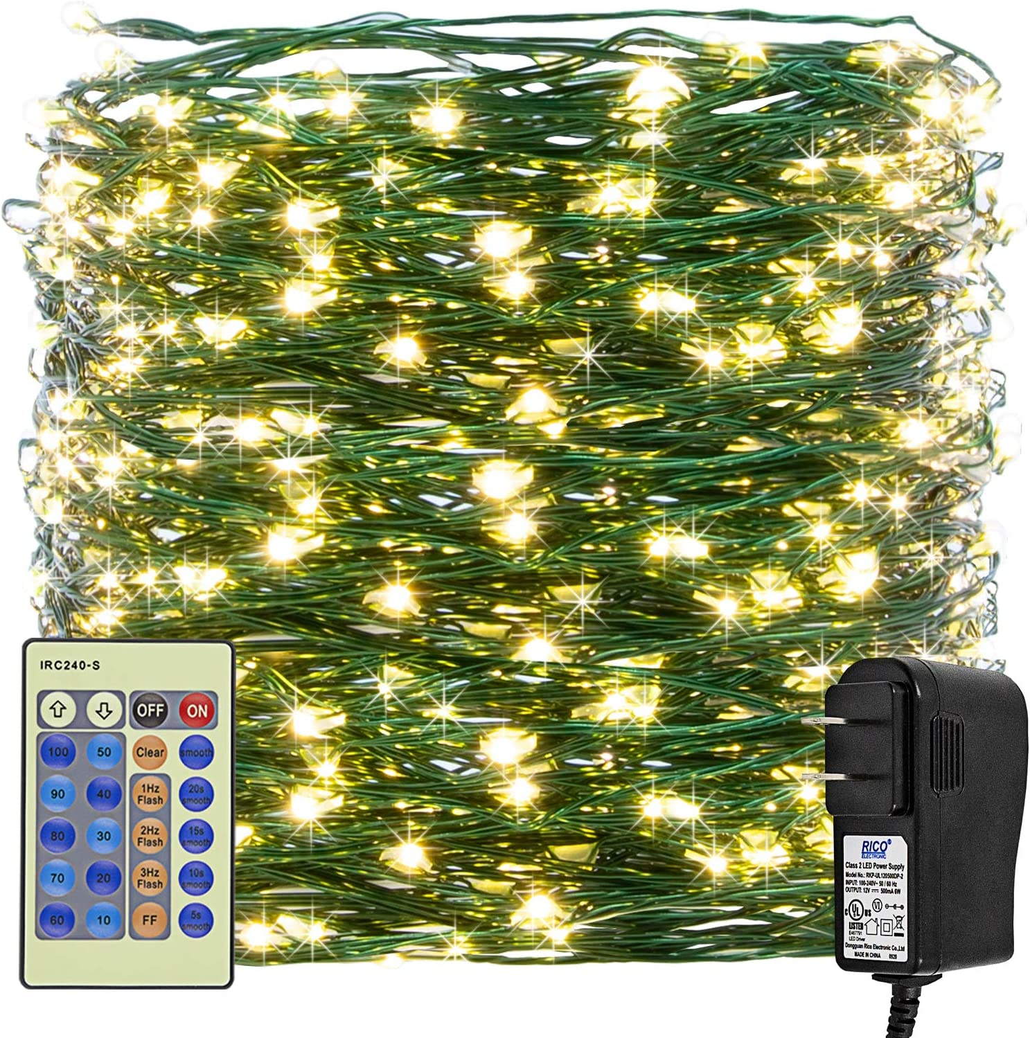 Haynery Christmas Fairy String Lights 99ft 300LED Indoor Outdoor Starry Lights Dimmable with Remote, Plug in Tree Lights for Christmas Tree Wedding Bedroom Party Decor, Green Wire Warm White