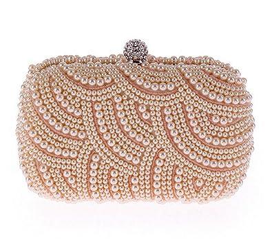 198eddf4858 KEBINAI 100% Hand made Luxury Pearl Clutch bags Women Purse Diamond Chain white  Evening Bags
