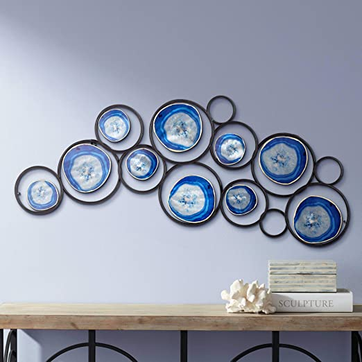 beautiful framed agate slice wall decor agate slice geode.htm amazon com newhill designs blue agate 42  wide metal wall art  amazon com newhill designs blue agate