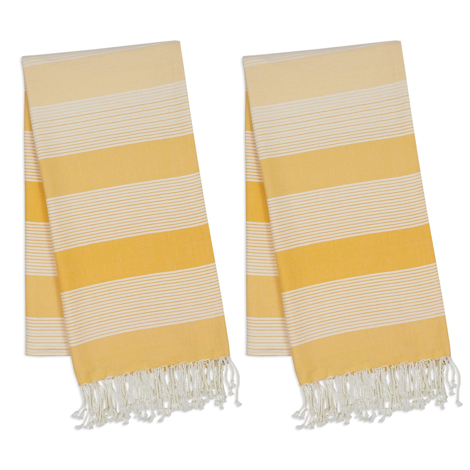 DII 100% Cotton, Turkish Fouta Towel, Fast Drying, Ultra Soft & Absorbent, Every Home Basic, Multi Use Towel/Table Topper, 20 x 30, Set of 2 - Yellow Stripe
