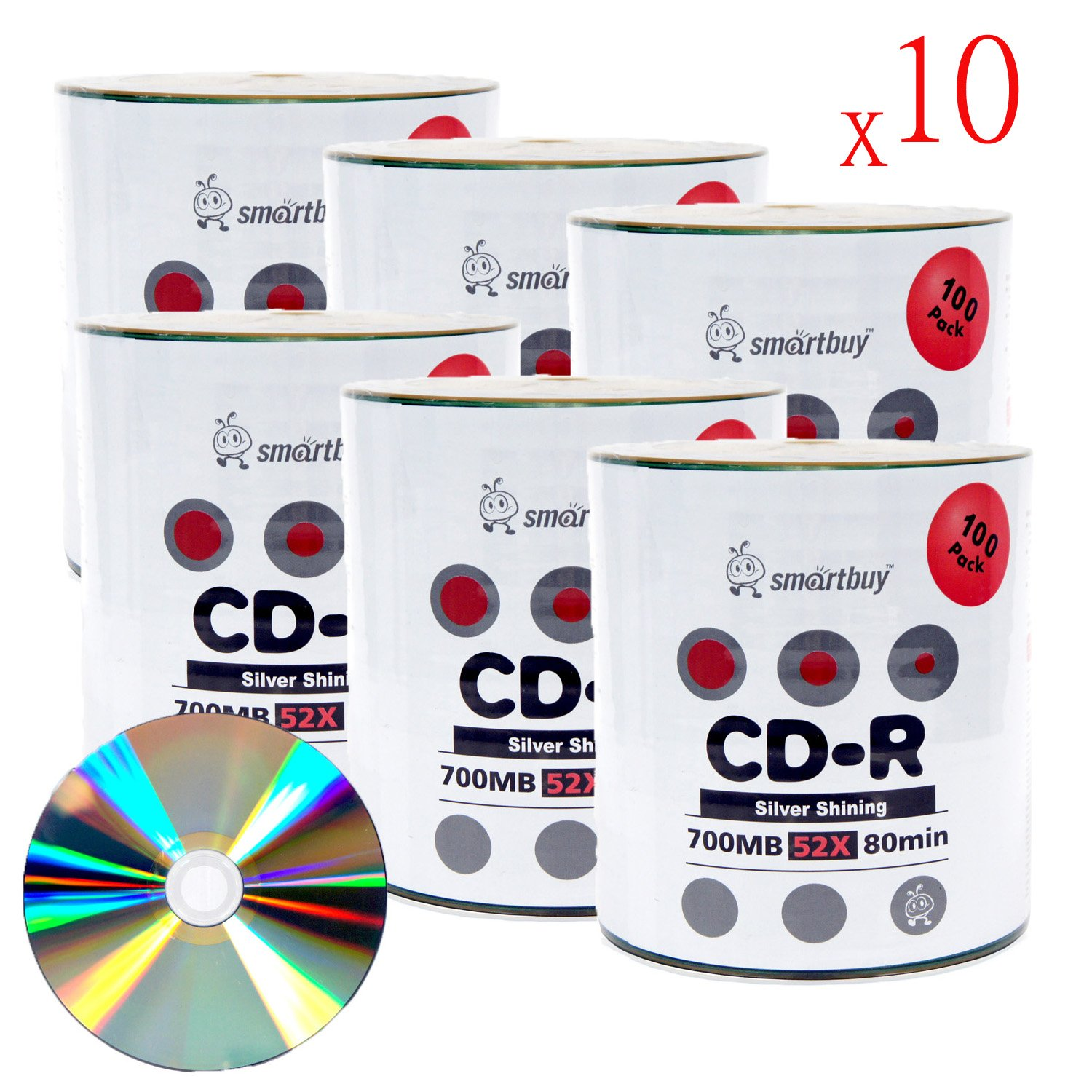 Smart Buy Shiny Silver Top CD-R 6000 Pack 700mb 52x Blank Recordable Discs, 6000 Disc, 6000pk