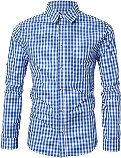 KOJOOIN Trachtenhemd kariert Herren Hemd Freizeithemd Landhausstil  Langarmhemd Slim fit Hemd Bestickt Baumwolle - für Karneval d308aa389c