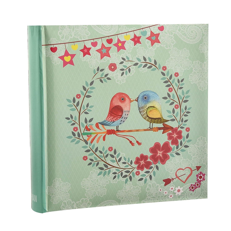 Arpan - Album per foto con tasche e spazio per appunti, per 200 foto da 10 x 15 cm, motivo vintage con uccellini AL-9768