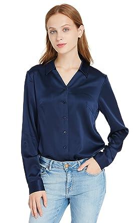 038beeb917b634 LilySilk Einfach Seidenhemd Damenbluse Arbeitskleidung Seidenbluse Hemdbluse  Damenmode Hemd Bluse Shirt Damen 19 Momme Navy Blau