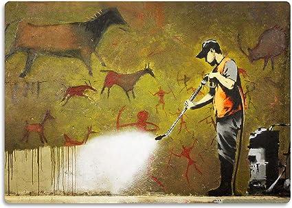 Giallobus La Peinture Banksy Nettoyeur Haute Pression A Peinture Rupestre Impression Sur Bois Mdf Prete A Accrocher 42x29 7 Cm Amazon Fr Cuisine Maison