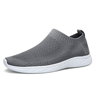 8745eabbf4c1b6 EAST LANDER Walking Shoes for Men and Women Flyknit Slip-on Sneakers Light  Athletic Shoes