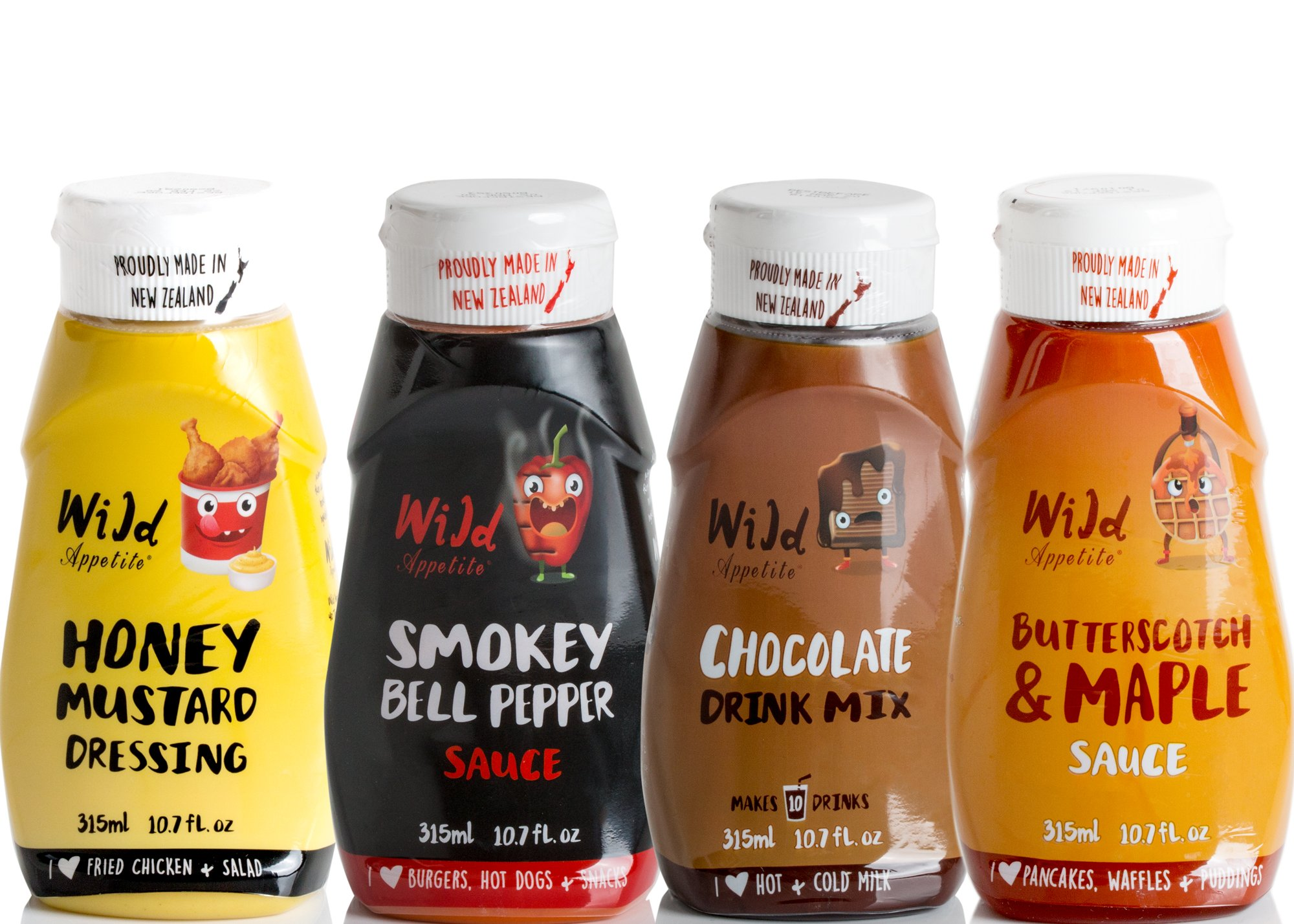 Wild Appetite, Combo 4 Pack, 1 x Honey Mustard Dressing and 1 x Smokey Bell Pepper and 1 x Butterscotch & Maple Sauce and 1 x Chocolate Drink Mix, 4 x 10.6oz
