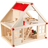 Hey! Play! Dollhouse for Kids – Classic Pretend Play 2 Story Wood Playset with Furniture Accessories & Dolls for…
