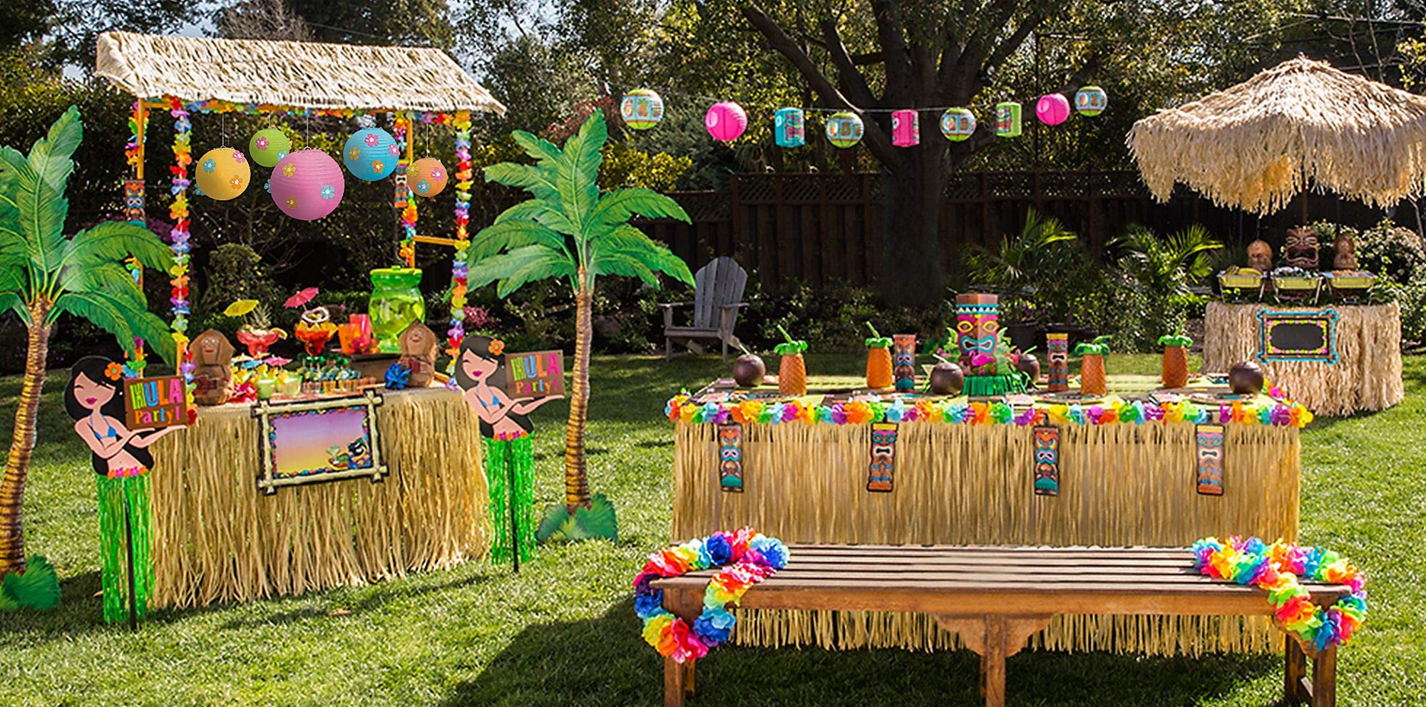 Party City Full Tiki Party Decorating Kit, Includes Tiki Bar, Signs, Decorations, Table Skirt, Centerpiece Kit and More