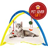 Animals Favorite Cat Play Mat, Cat Tent Activity Center with Hanging Toys