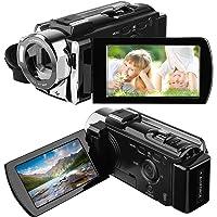 HAMSWAN Camera Camcorder, Full HD Camcorder, 1080P 24MP, 16X Digital Zoom, 3.0 Inch LCD Screen,Portable Anti-shake with 270 Degree Rotation, HDMI Output Night Vision Camera