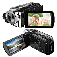 Camera Camcorder, HAMSWAN Full HD Camcorder, 1080P 24MP, 16X Digital Zoom, 3.0 Inch LCD Screen,Portable Anti-shake with 270 Degree Rotation, HDMI Output Night Vision Camera