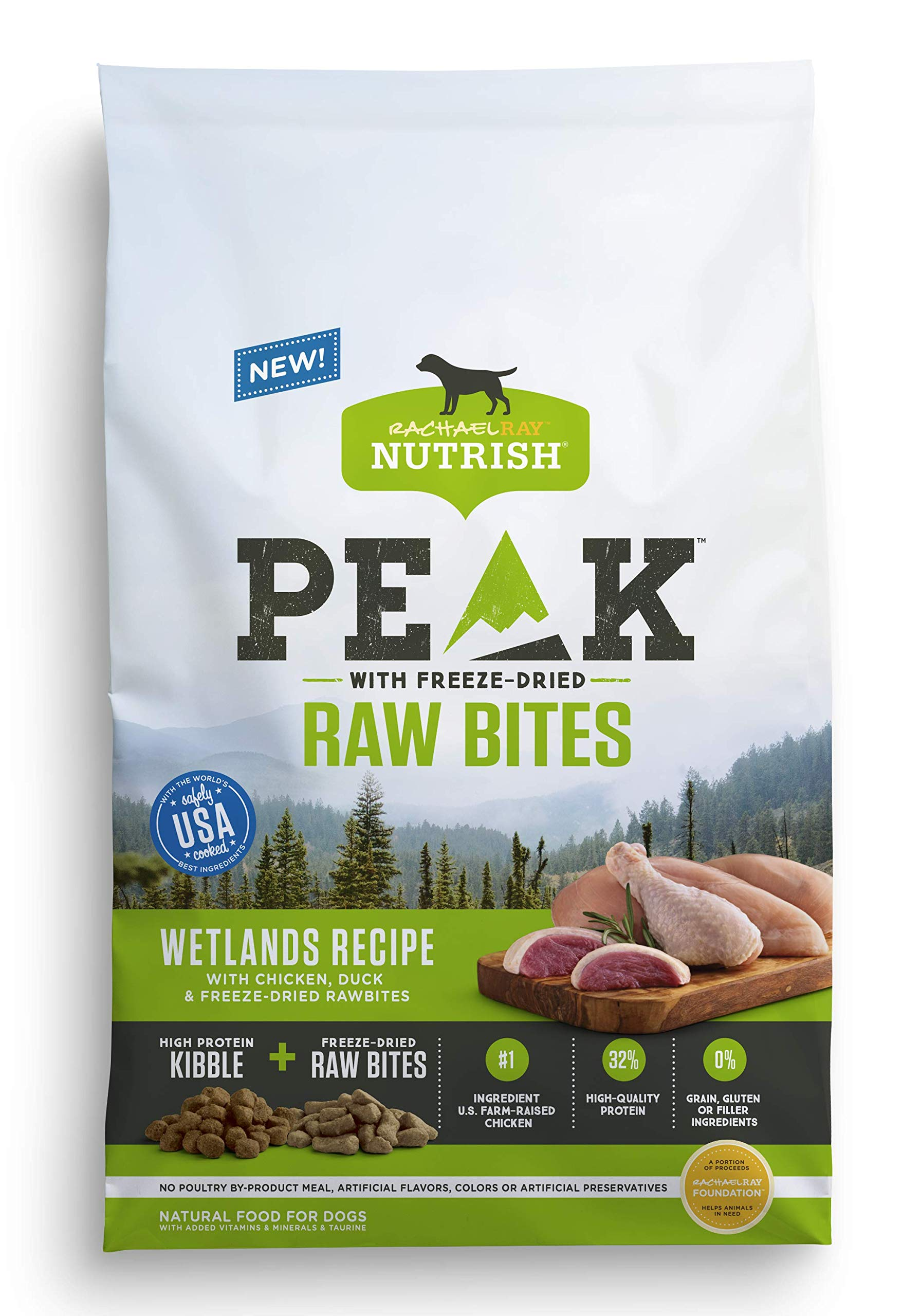 Rachael Ray Nutrish PEAK Wetlands Recipe with Chicken, Duck and Freeze-Dried Raw Bites Dry Dog Food, 23 Pounds by Rachael Ray Nutrish