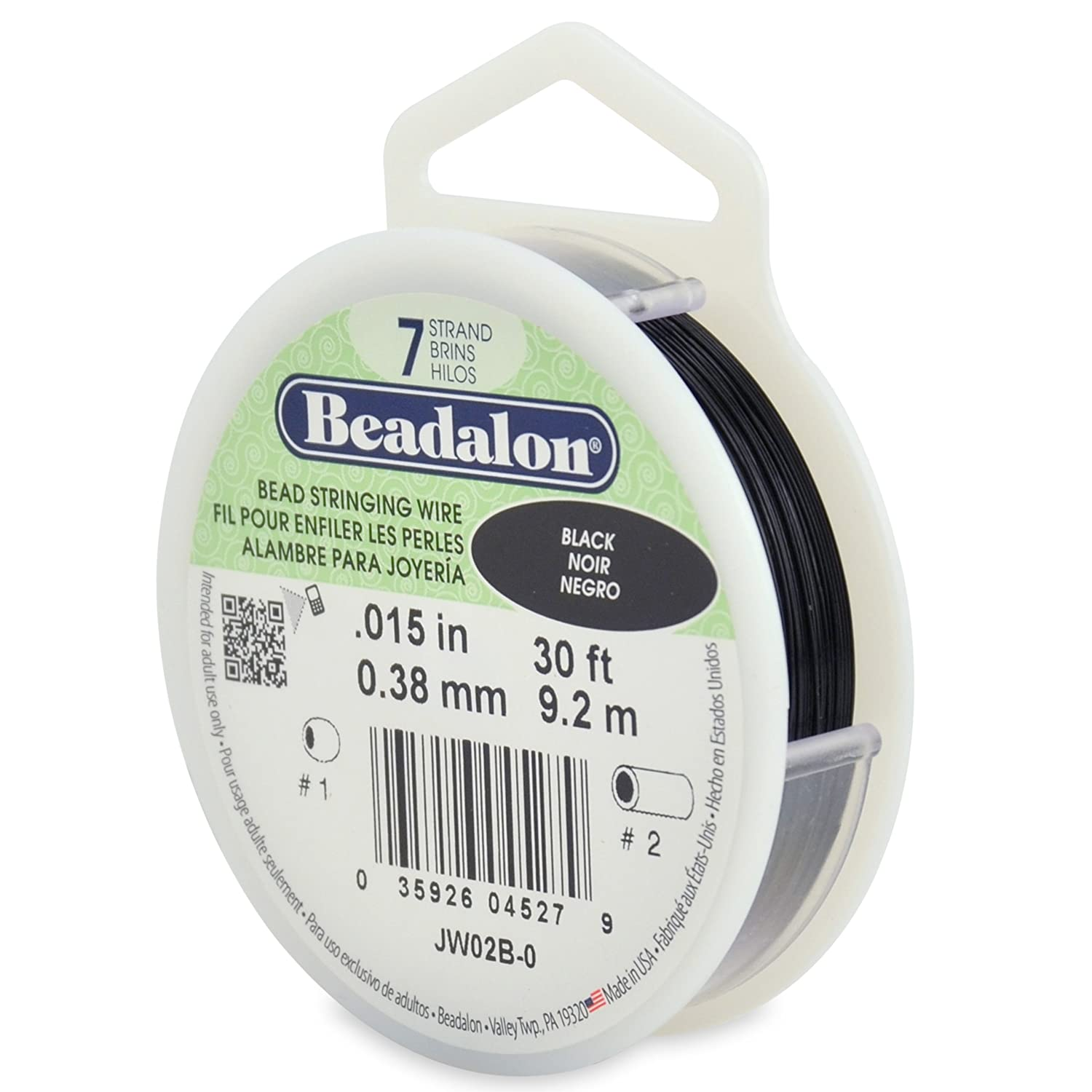 Beadalon Stringing Wire 7-Strand 0.015-Inch, 0.38-Millimeter Diameter, 30-Feet-Pack, Gold JW02-G-0