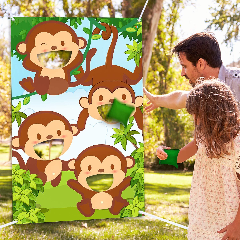 Jungle Safari Animals Bean Bag Toss Games with 3 Bean Bags Jungle Safari Theme Party Games Decoration Monkey Toss Bean Toss Games for Children Baby Shower Family Jungle Animals Theme Party Favor Suppl by Blulu