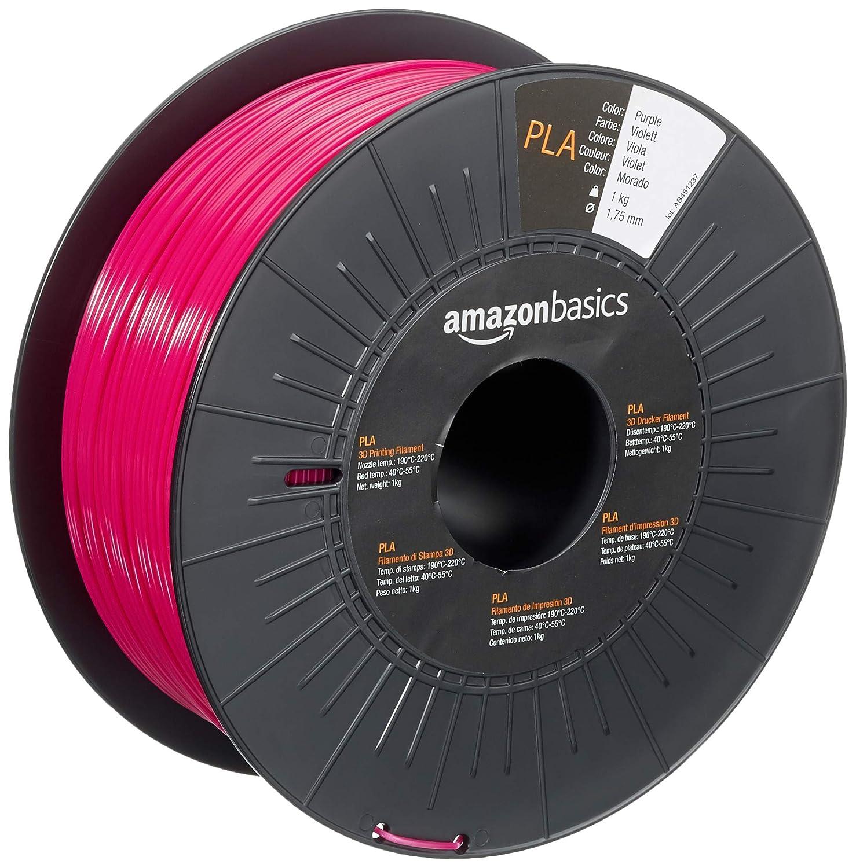 AmazonBasics PLA 3D Printer Filament, 1.75mm, Purple, 1 kg Spool