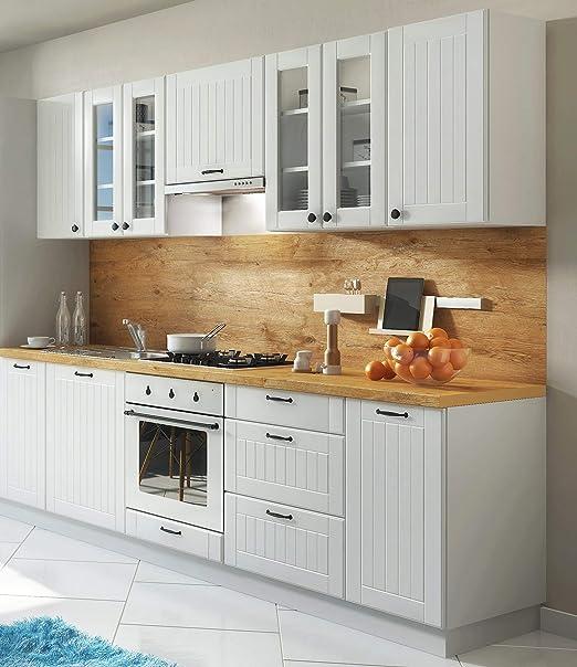 Möbel für Dich Landhaus Einbauküche LORA Küchenzeile 9 cm im Landhausstil  weiß, beige o. grau (grau)