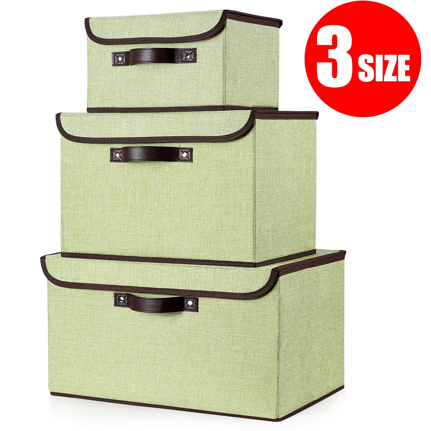 senbowe Foldable Storage Cubes [3-Size] Linen Fabric Foldable Storage Cubes Bin Box Containers Organizer Basket with Lid, Dual Handles, for Home, Office, Nursery, Closet, Bedroom, Living Room