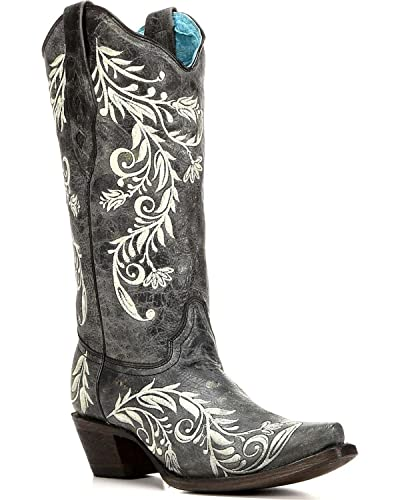 Women's Contrast Side Embroidery Cowgirl Boot Snip Toe - A3170
