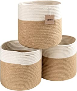 VOTEN Rope Storage Baskets Bins 3 Pack Storage Cube Organizer Foldable Decorative Woven Basket with Handles for Clothes,Toy,Makeup,Books,Towels,Nursery,Round 11x11x11 White Jute