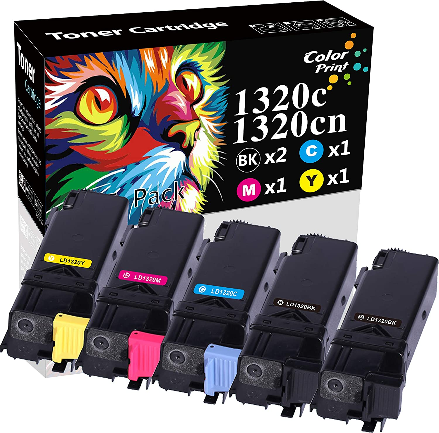 (5-Pack, 2X Black, Cyan, Magenta, Yellow) ColorPrint Compatible Dell 1320c Toner Cartridge Used for Dell Color Laser 1320 Black KU052 Cyan KU053 Yellow KU054 Magenta KU055 Printer