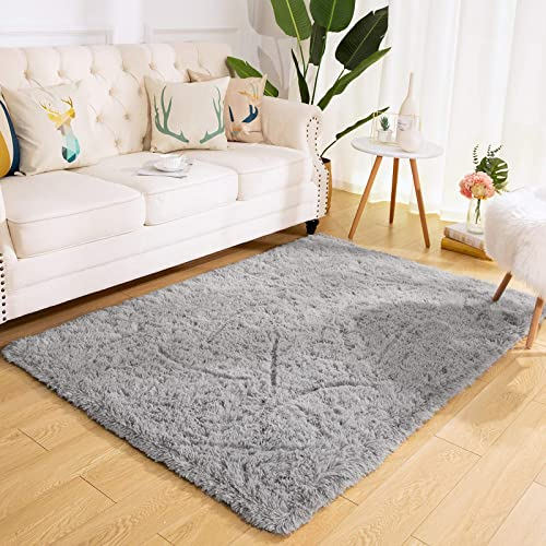 Super Soft Kids Room Nursery Rug 5' x 8'Grey Mordern Indoor Fluffy Area Rug