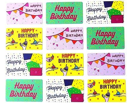 Paquete de 24 Colorido Feliz Cumpleaños Saludo Pegatinas ...